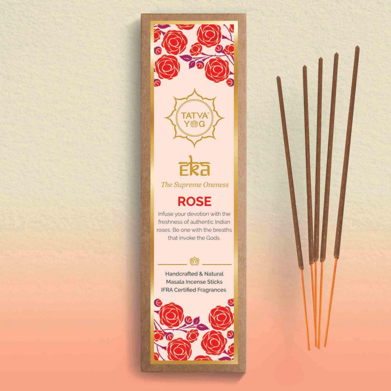 Tatva Yog | Eka The Supreme Oneness - Rose | Sandal | Jasmine | Kewra | Musk - Natural Masala Incense Sticks (Pack of 5)